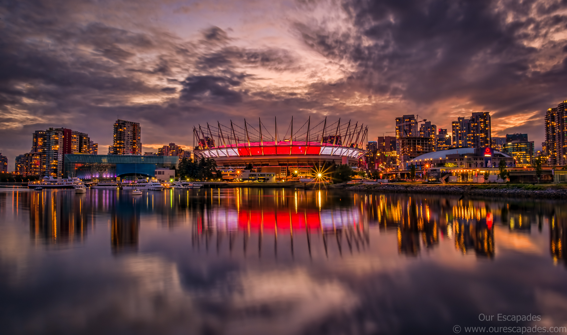 Our Escapades - Vancouver Downtown Dusk BC Place Stadium